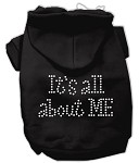 It's All About Me Rhinestone Hoodies Black XS