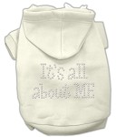 It's All About Me Rhinestone Hoodies Cream XS