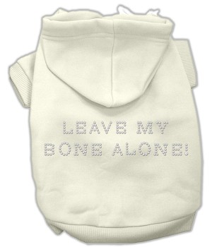 Leave My Bone Alone! Rhinestone Hoodie Cream XL (16)
