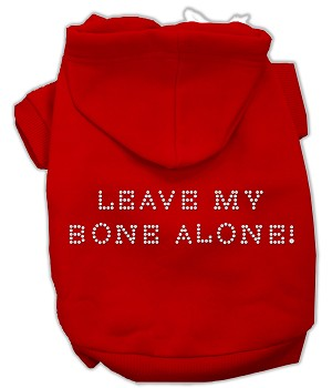 Leave My Bone Alone! Rhinestone Hoodie Red XXXL