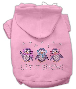 Let it Snow Penguins Rhinestone Hoodie Light Pink XS (8)