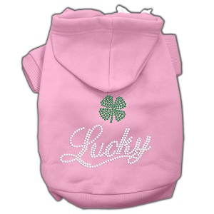 Lucky Rhinestone Hoodies Light Pink L (14)