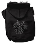 Clear Rhinestone Paw Hoodies Black XS