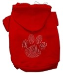 Clear Rhinestone Paw Hoodies Red XS