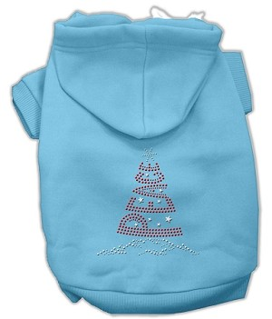 Peace Tree Rhinestone Hoodies Baby Blue XXXL