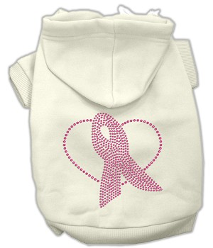Pink Ribbon Rhinestone Hoodies Cream XL (16)
