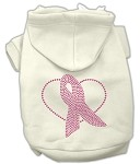 Pink Ribbon Rhinestone Hoodies Cream M (12)