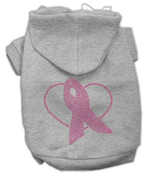 Pink Ribbon Rhinestone Hoodies Grey XXL (18)
