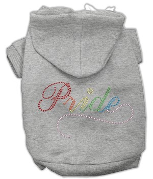 Rainbow Colored Pride Rhinestone Hoodie Grey XXXL