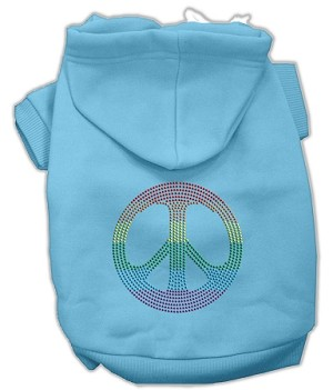 Rhinestone Rainbow Peace Sign Hoodies Baby Blue XXL (18)