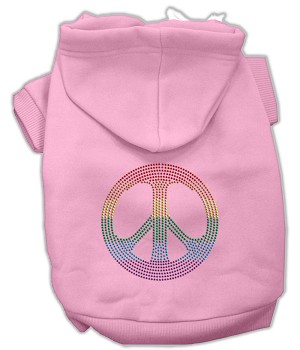 Rhinestone Rainbow Peace Sign Hoodies Pink L (14)