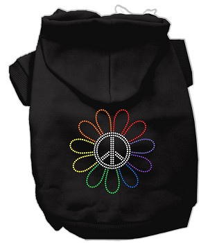 Rhinestone Rainbow Flower Peace Sign Hoodie Black XXXL(20)