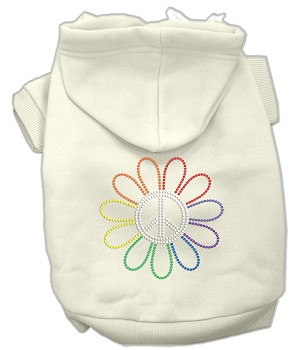 Rhinestone Rainbow Flower Peace Sign Hoodie Cream XL (16)