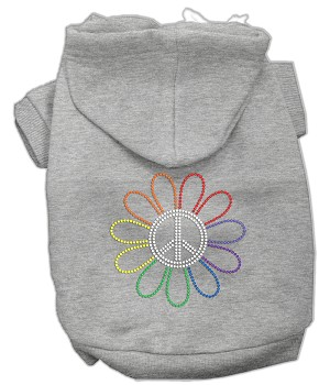 Rhinestone Rainbow Flower Peace Sign Hoodie Grey L (14)