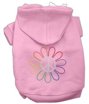 Rhinestone Rainbow Flower Peace Sign Hoodie Light Pink XL