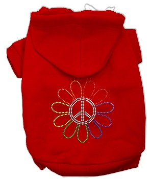 Rhinestone Rainbow Flower Peace Sign Hoodie Red S (10)