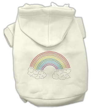 Rhinestone Rainbow Hoodies Cream XXL (18)