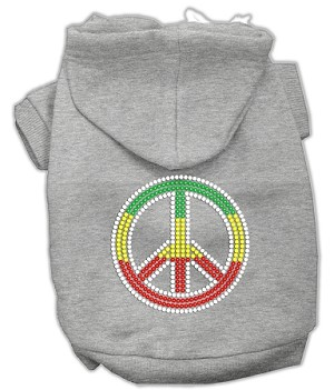 Rasta Peace Sign Rhinestone Hoodie Grey XL (16)