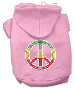Rasta Peace Sign Rhinestone Hoodie Light Pink XXL