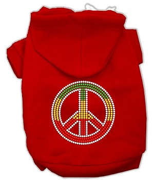 Rasta Peace Sign Rhinestone Hoodie Red XXXL(20)