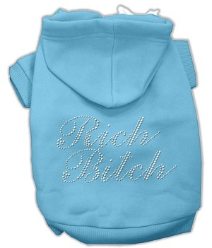 Rich Bitch Rhinestone Hoodies Baby Blue M