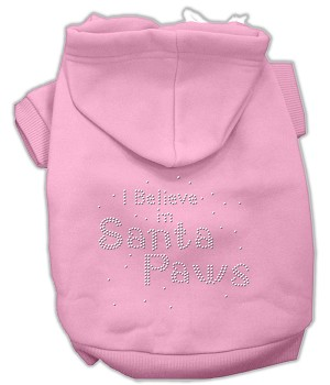 I Believe in Santa Paws Rhinestone Hoodie Light Pink XXL (18)