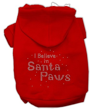 I Believe in Santa Paws Rhinestone Hoodie Red XS