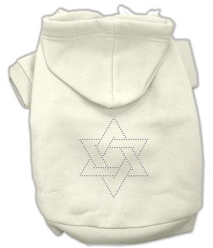 Star of David Rhinestone Hoodie Cream XL (16)