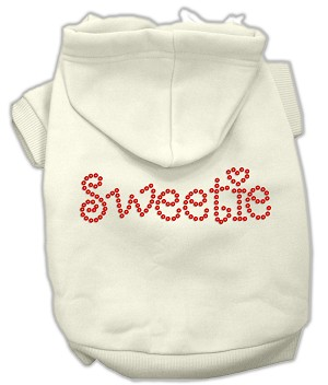 Sweetie Rhinestone Hoodies Cream XXL (18)
