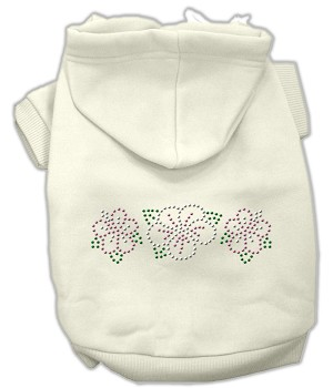 Tropical Flowers Rhinestone Hoodies Cream XL (16)