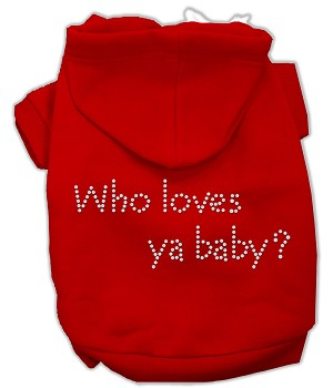 Who loves ya baby? Rhinestone Hoodie Red XXXL(20)