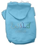 Wild Child Rhinestone Hoodies Baby Blue XS