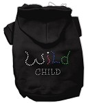 Wild Child Rhinestone Hoodies Black XS