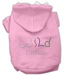Wild Child Rhinestone Hoodies Light Pink XS