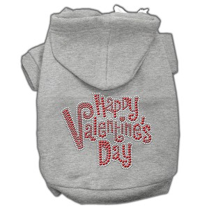 Happy Valentines Day Rhinestone Hoodies Grey S (10)