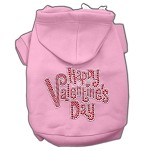 Happy Valentines Day Rhinestone Hoodies Light Pink XS (8)