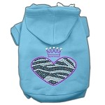 Zebra Heart Rhinestone Hoodies Baby Blue XL