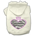 Zebra Heart Rhinestone Hoodies Cream XS