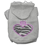 Zebra Heart Rhinestone Hoodies Grey XS