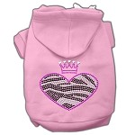 Zebra Heart Rhinestone Hoodies Light Pink XS