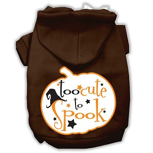 Too Cute to Spook Screenprint Hoodie Brown XXL