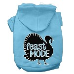 Feast Mode Screen Print Dog Hoodie Baby Blue XS