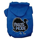 Feast Mode Screen Print Dog Hoodie Blue XS