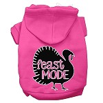 Feast Mode Screen Print Dog Hoodie Bright Pink XS
