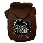Feast Mode Screen Print Dog Hoodie Brown XS