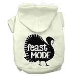 Feast Mode Screen Print Dog Hoodie Cream XS