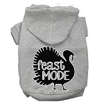 Feast Mode Screen Print Dog Hoodie Grey XS