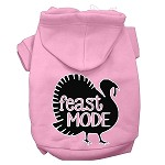 Feast Mode Screen Print Dog Hoodie Light Pink XS
