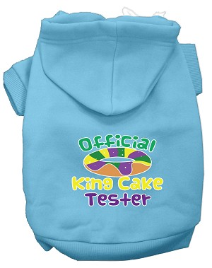 King Cake Taster Screen Print Mardi Gras Dog Hoodie Baby Blue S