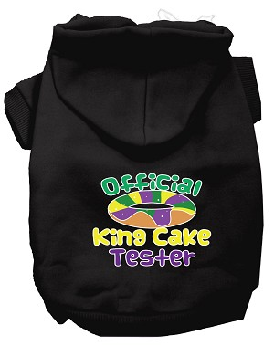 King Cake Taster Screen Print Mardi Gras Dog Hoodie Black XL